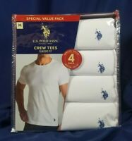 US Polo Assn 4 Crew Neck Tees M White Classic Fit Cotton T-Shirts SHIPS FREE!