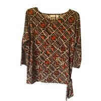 Chicos Womens Blouse Brown Geometric 3/4 Sleeve Side Tie Stretch Med 8/10 NWOT's