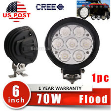 70W 6inch Cree 5000LM LED Work Driving Fog Light bar Round Flood Offroad ATV 4x4