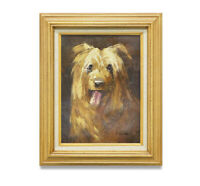 NY Art - Impressionist Golden Retriever Portrait 12x16 Oil Painting with Frame!