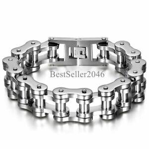 Men Heavy Sturdy Stainless Steel Motorcycle Bike Chain Bracelet Biker Wristband