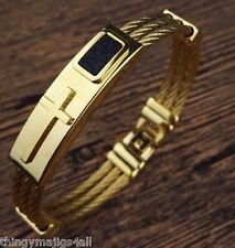 Quality Stainless Steel Cross Cable Wire Gold Bracelet Bangle Mens Womens