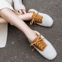 Womens Ladies Winter Warm Fashion Fluffy Lamb Fur Lace Up Flat Court Shoes Bty15