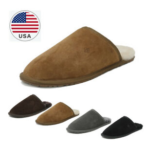 US Mens sheepskin fur lining Scuff Slippers Moccasin toe Slip On Cozy Shoes