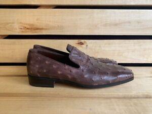 Yves Saint Laurent YSL Brown Ostrich Leather  Mens  Shoes Sz. EUR 41 UK 7 US 8