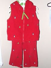 Rags Land 3T 4T Hooded Vest Pants Outfit Snowman Christmas Tree Red Corduroy