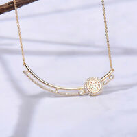 Luxury Gold Plated CZ Flower Pendant Necklace For Women Party Jewelry Gift