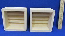 2 Unstained Wood Divided Storage Boxes Case Trays Coasters Cassettes Shadow Box
