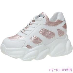 Womens High Hidden Wedge Heel Shoes  Platform Lace Up Boots Sneakers Ladies 2021