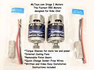 PAIR of MLToys 550 Motors for Power Wheels Cadillac Escalade SPEED TUNED