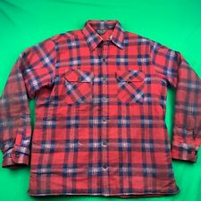 VINTAGE WOODLAND QUILTED INSULATED FLANNEL BUTTON DOWN SHIRT SIZE LARGE WORN