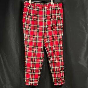 Burberry London Wool Plaid Nova Pleated Front Men's 38 Reg Pant Slacks Union USA