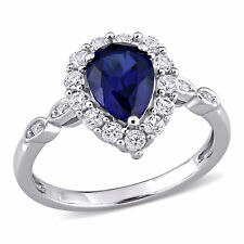 Amour 10k White Gold Created Blue and White Sapphire Diamond Engagement Ring
