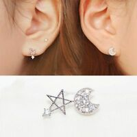 Cute Best Quality Gift Studs Earrings Moon And Star Zircon Silver Plated