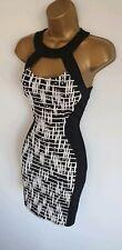 Jane Norman WornOnce black white textured caged neck bodycon pencil dress 8