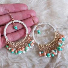 Vintage Womens Bohemians Hippies Random-Multi Beads Fringed Dangle Hook Earrings