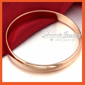 9K PLAIN ROSE GOLD GF SOLID LADIES WEDDING BAND GOLF ROUND BANGLE BRACELET 70MM