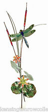 Wall Art - Dragonfly And Flowers Metal Wall Sculpture - Wall Decor