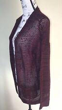 Mudd Junior Women BTS Mesh Knit Long Open Front Cardigan Sweater Pockets Sz XL