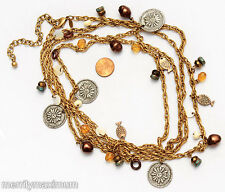 Chico's Signed Necklace Super Long Gold Tone Chain Beads Fish Flowers Charms