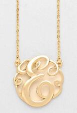 "Monogram Initial Necklace GOLD Letter E Script Circle 1.5""Pendant Personalized"