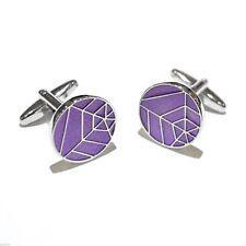 Round Purple Web Design Cufflinks X2AJ360