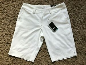 Nike Ladies Womens Tour Performance Modern Rise Golf Shorts (White) UK Size 12 -