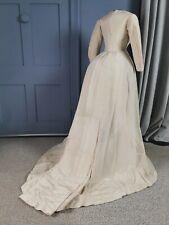 Elegant 1870s Princess Bustle Wedding ? Dress - Victorian Antique Fashion