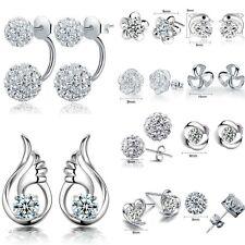 Lusso elegante da donna argento sterling 925 cristallo ORECCHIO A PERNO GIOIELLI