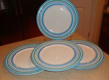 Crate & Barrel Set of 4 Dinner Plates Turquoise ,Blue & Green Mosaic Pattern