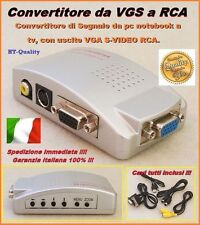 ADATTATORE CONVERTITORE COMPUTER PC NOTEBOOK DA VGA A RCA S-VIDEO TV   UM2000AX