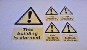 5 X THIS BUILDING IS ALARMED STICKERS WARNING SIGNS