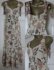 NEW M&S Floral Strappy Maxi Dress Summer Sun Holiday Boho Beige 8-16 RRP £49