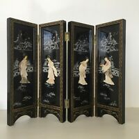 Vintage Chinese Lacquer Table Folding Screen Carved Bovine Bone Mother of Pearl