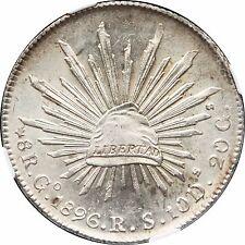 Mexico 8 Reales Go 1896 R.S. Guanajuato, NGC MS63  KM# 377.8