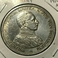 1914-A GERMANY PRUSSIA SILVER 5 MARKS CROWN COIN
