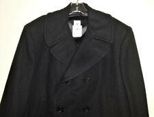 DSCP by Sterlingwear USA Made Mens Black Wool Pea Coat Sz 44 Short US Naval Navy