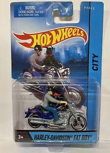 Hot Wheels City HARLEY-DAVIDSON FAT BOY Motorcycle w/ Rider & Doggie - HTF NIP
