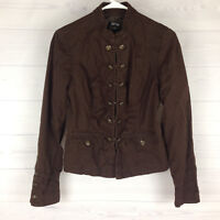 APT 9 Women's Sz Small Brown Flap Pocket Lined Cropped Lightweight Cotton Jacket