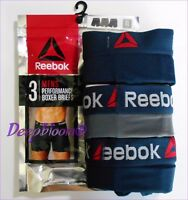 REEBOK MEN UNDERWEAR 3 PACK BOXER BRIEF STRETCH PERFORMANCE TRAINING NAVY NEW