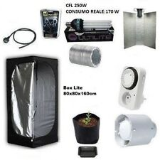 Kit Grow Box Completo Grow Room 80x80x160+CFL 250W AGRO per Coltivazione Indoor