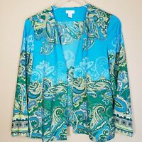 Chico's Paisley Print Open Front Lightweight Jacket Size 1 (Medium 8) Blue Green