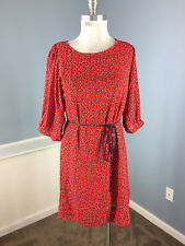 French Connection S 6 8 Red Floral Shift dress short sleeves Anthropologie
