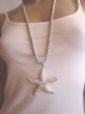 Damen Hals Kette Bettelkette lang Modekette Silber Strass 3D Seestern Bling K23