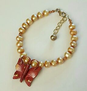 Artisan Bracelet Pearls w/ Copper Butterfly Focus 14K Gold Fill Handcrafted USA