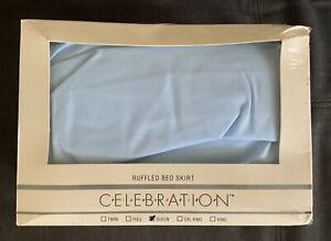 NEW Vintage Mervyns Celebration Light Blue Queen Ruffled Bed Skirt Made in USA