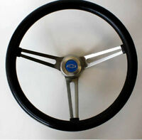 "64-65 Chevelle El Camino GRANT Black Steering Wheel 15"" Stainless Steel Spokes"