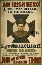 WW1 RECRUITING POSTER BRITISH ARMY O'LEARY IRISH GUARDS 10 GERMANS NEW A4 PRINT