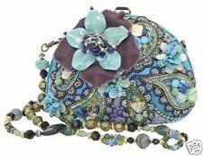Mary Frances Tq Teal Blue Flower Shell Beaded Handbag Resort Laguna New