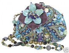 Mary Frances Tq Teal Blue Flower Shell Beaded Handbag Resort Laguna New